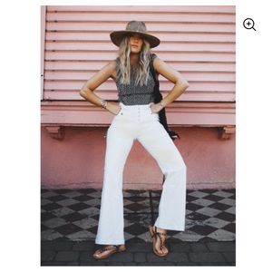 Scoop White Sailor High Rise Wide Leg Jeans 12
